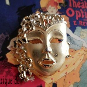 Vintage mask brooch harlequin face gold pin